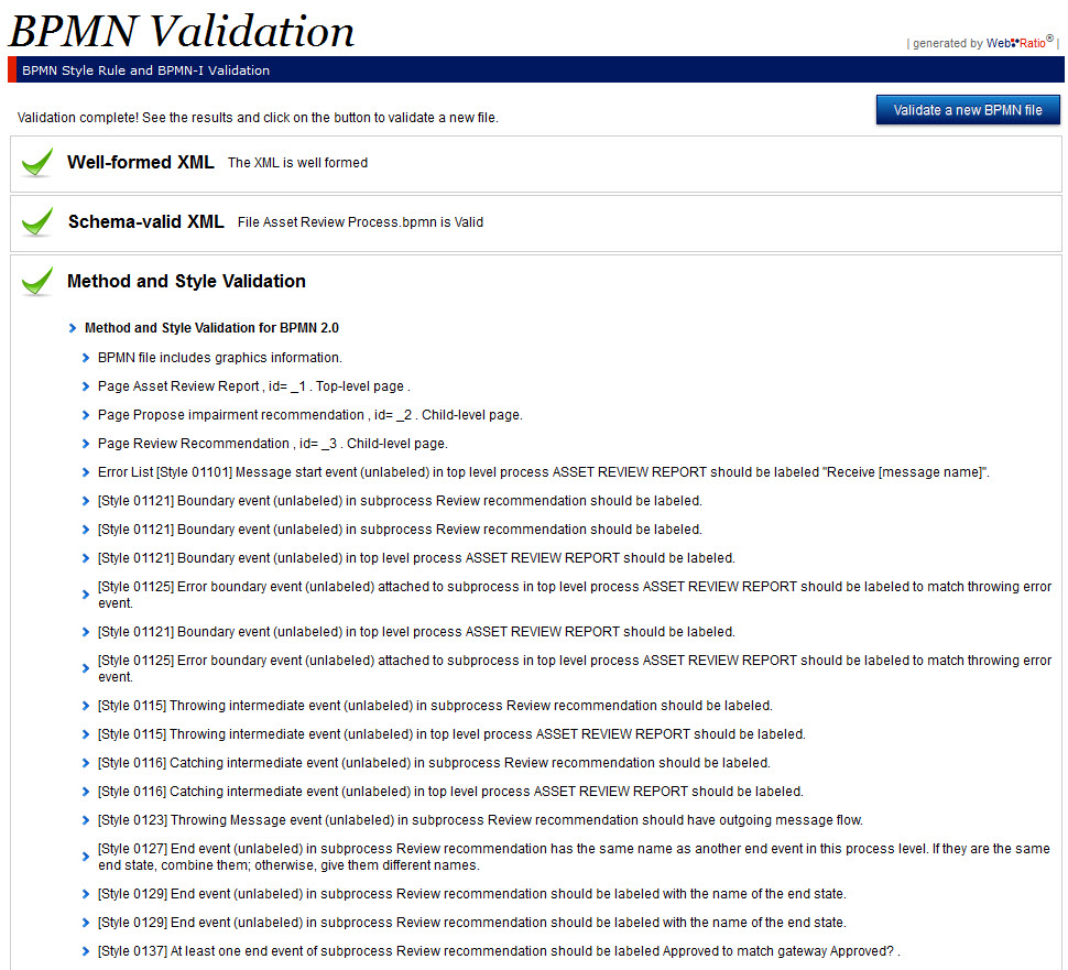 BPMN Validation Tool - Improved by WebRatio - Method and Style